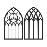 哥特式视窗 葡萄酒框架 教会玻璃被弄脏的视窗 皇族释放例证