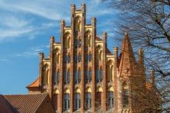 哥特式门面在吕贝克的历史的中心 免版税图库摄影