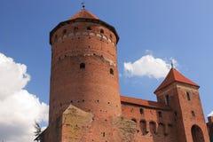 哥特式14世纪城堡在雷谢尔,波兰 库存照片