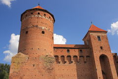 哥特式14世纪城堡在雷谢尔(Masuria,波兰) 免版税库存图片