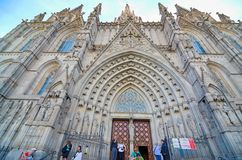 哥特式巴塞罗那大教堂(Catedral de巴塞罗那) 免版税库存照片