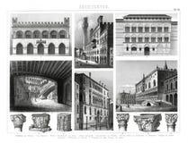 1874哥特式Italina和新生建筑学古色古香的印刷品  免版税库存图片