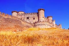 哥特式Mudejar城堡在贝尔蒙特 图库摄影