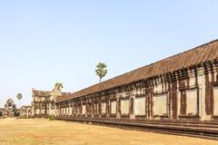 吴哥窟墙壁,暹粒,柬埔寨 库存照片
