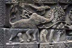 吴哥窟大象战士特写镜头安心 免版税图库摄影
