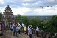 吴哥窟的,柬埔寨游人 免版税图库摄影