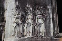 吴哥窟雕象早晨,柬埔寨 免版税库存图片