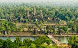 吴哥窟鸟瞰图,暹粒,柬埔寨 库存图片