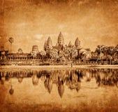吴哥窟,柬埔寨葡萄酒图象 免版税库存图片
