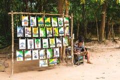 吴哥窟,柬埔寨- 2016年12月5日:经销商和游人 库存图片