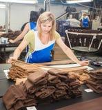 哥罗德诺,白俄罗斯- 2013年12月13日:工厂的妇女内裤的生产的冲洗 免版税库存图片