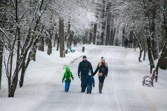 哥罗德诺,白俄罗斯- 2017年1月15日 家庭、父亲、走在冬天森林里的母亲、女儿和儿子 免版税库存图片