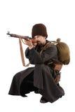 哥萨克人指向步枪俄语 免版税库存照片