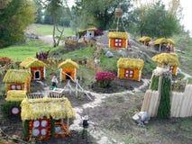 哥萨克人生活的全景从花卉设计童话的 库存图片
