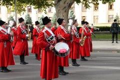 哥萨克游行在克拉斯诺达尔,俄罗斯 免版税图库摄影