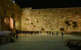 哭墙耶路撒冷,夜视图 免版税库存图片