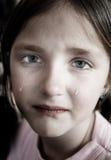 哭泣与泪花的小女孩滚动下来面颊 免版税库存图片