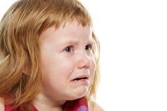 哭泣与泪花的小女孩 库存照片