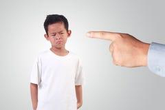哭泣为被惩罚的哀伤的亚裔男孩 免版税库存照片