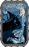 哭泣在凹下去的船背景的美人鱼  皇族释放例证
