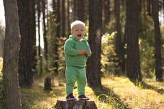 哭泣或唱歌在森林或公园里的逗人喜爱的小男孩 免版税库存照片
