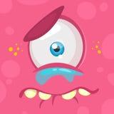 哭泣的动画片妖怪面孔 导航有一只眼睛的万圣夜桃红色哀伤的妖怪 库存图片