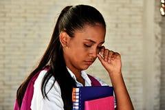 哭泣的哥伦比亚的学校女孩少年 免版税库存照片