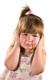哭泣的女孩翻倒 库存图片