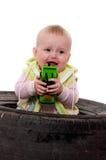 哭泣的孩子少许玩具 免版税库存照片