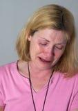 哭泣的泪花妇女 库存照片
