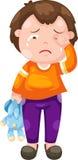 哭泣的男孩向量 库存照片