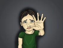 哭泣的男孩,手势停止暴力和痛苦 画象 库存照片