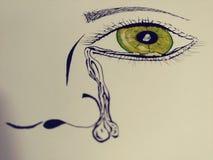 哭泣的眼睛部份画象颜色线艺术斑点  免版税库存图片