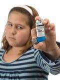 哮喘女孩 免版税库存照片