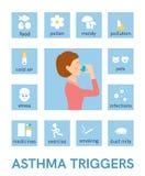 哮喘触发器 平的象 向量 向量例证