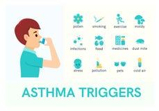哮喘触发器 有吸入器的人 平的象 向量例证