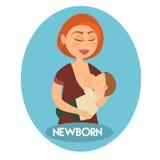 哺乳她的小孩子的美丽的母亲拿着他在有同情心的手上 向量例证