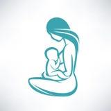 哺乳她的婴孩的母亲 皇族释放例证
