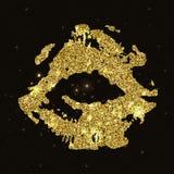 嘴唇与金黄闪闪发光的印刷品剪影 金黄嘴唇,魅力空气亲吻 库存例证