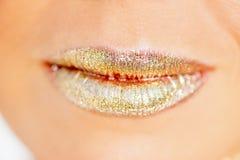 嘴唇抹上与衣服饰物之小金属片特写镜头 库存图片