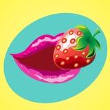嘴唇用草莓 免版税库存照片