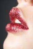 嘴唇红色发光 库存图片