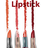 唇膏 关闭唇膏污迹样品 秀丽和化妆用品背景 向量 库存照片
