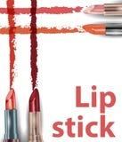 唇膏 关闭唇膏污迹样品 秀丽和化妆用品背景 向量 向量例证