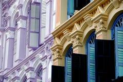 唐人街五颜六色的房子界面新加坡 免版税库存照片