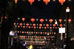唐人街在晚上,旧金山,加利福尼亚,美国, 2017年12月27日 图库摄影