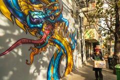 唐人街壁画 免版税库存图片