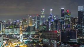 唐人街新加坡夜timelapse鸟瞰图和Downotwn  股票录像
