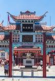 唐人街洛杉矶 明亮的建筑学在种族唐人街 洛杉矶旅游胜地 图库摄影