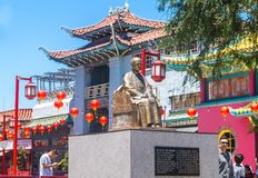 唐人街洛杉矶 明亮的建筑学在种族唐人街 免版税库存照片